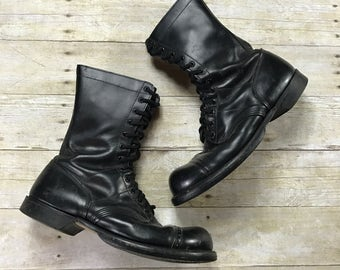 Vintage 1960s 60s Corcoran Inc. US Military Cap Toe Black Leather Paratrooper Boots Mens Military Workwear Size 11 1/2 W