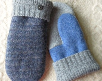NEW! LINED Size Large/or Men's Size, Repurposed Sweater Wool Mittens, in Blue and Gray, Eco-Friendly Felted Wool Mittens