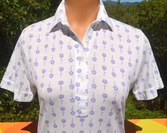 vintage 70s women's golf polo shirt white leon levin FLORAL flowers preppy soft thin Small 80s