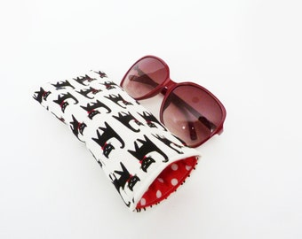 Glasses case, back and white cat fabric, cotton case
