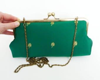 Clutch bag, Indian sari fabric, green and gold decorative design, evening purse