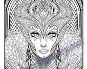 Single Coloring Page - Wicked Sorceress from the Magical Beauties Collection - Download, Print & Color!