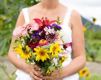 Fresh Farm Flower Bouquet for Local Montana Brides Sunflowers, Zinnias, Lavender, Lilies & More for Bride's Bridesmaids, Flower Girls