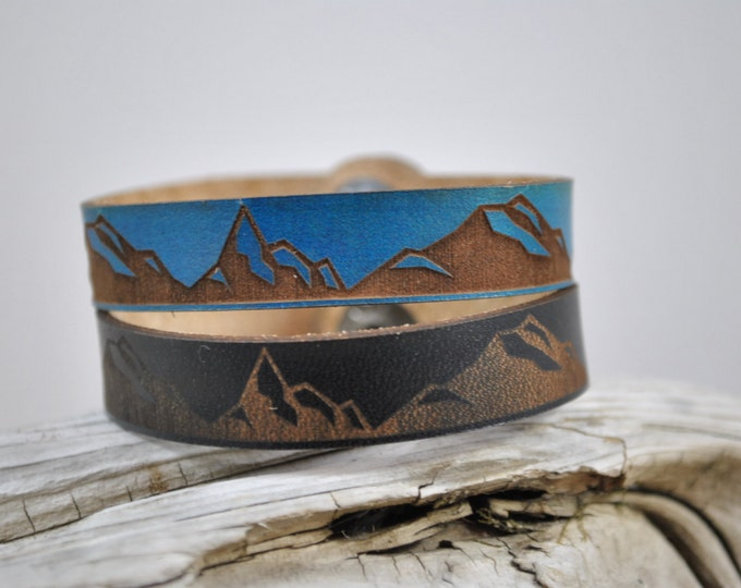 Featured listing image: MOUNTAIN Leather Cuff, Thin, Leather cuff, leather bracelet, unisex leather cuff, men's, women's, kids, graduation gift