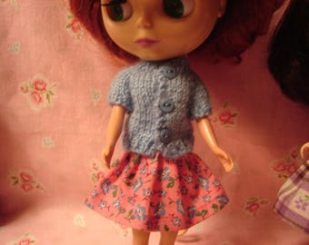 Blythe Little Blue Button Sweater for Pullip and Vintage Skipper Too!