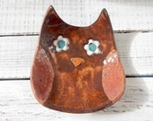 Ceramic Owl Bowl- Owl dish -Owl Bowl- Jewelry Holder - Original - Jewelry Dish- Spoon Rest- Soap Dish- Trinkets- Holiday Gift