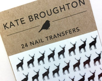 deer nail transfers - illustrated animal nail art decals - wildlife / nature / nail art stickers - stag nail art