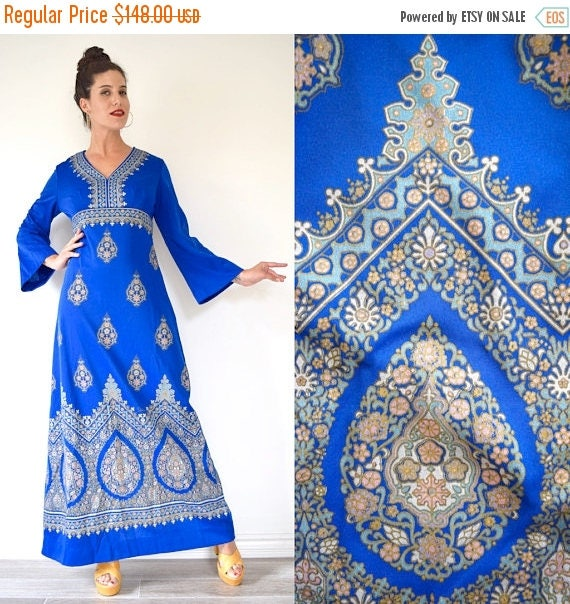 SPRING SALE / 30% off Vintage 70s Alfred Shaheen Royal Blue Metallic Gold Floral Screen Print Bell Sleeve Empire Waist Maxi Dress (size medi