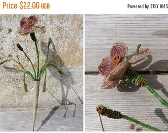 ON SALE 20% Vintage 1900/1930  French Antique beaded flower branch/seed beads /beadwork/flowers/timeworn