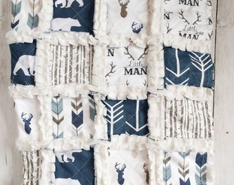 Deer Antler Quilt - Deer Blanket - Rustic Baby Quilt - Rustic Quilt - Little Man Quilt - Blue and Brown Blanket - Blanket for Baby Boy