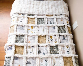 Mountain Woodland Minky Quilt - Adventure Awaits Blanket with Maps, Arrows, Mountains, and Pine Trees -  Woodland Blanket - Neutral Nursery
