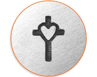 Impress Art 6mm Cross with Heart Metal Stamp Design Stamp  Decorative Stamp