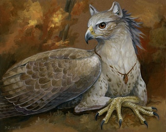 Autumn - Gryphon Print - Fantasy Bird Creature Art