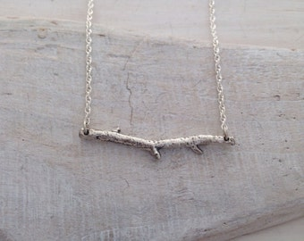 Skinny silver twig necklace