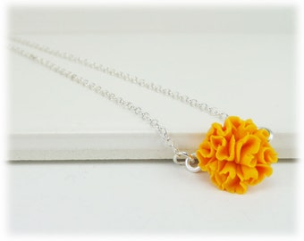 Tiny Orange Marigold Necklace - Marigold Jewelry, October Birthday Birth Flower