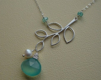 THREE DAY SALE Silver Branch Necklace & Aqua Chalcedony, Stone Necklace, Branch Charm Necklace, Branch Pendant Necklace, Sterling Silver, Pe