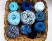 DESTASH- big grab bag assorted yarn 153g /5.4 ounces all blue