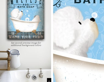 Maltese dog bath soap Company artwork on gallery wrapped canvas by Stephen Fowler