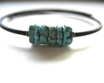 Turquoise Bracelet, Turquoise Stone Cuff Bounce Back Bracelet, Handmade Turquoise Jewelry, Gemstone Jewelry