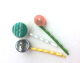 Fun Assortment of Button Hairpins Set of 3 made with vintage buttons