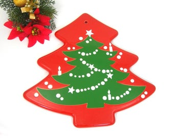 Waechtersbach Christmas Tree Trivet, Red and Green, Vintage 1980s Holiday Table Trivet, Western Germany Pottery, Kitchen Decor Wall Hanging