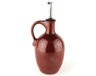 Olive Oil Bottle - 16 oz. Olive Oil Dispenser -  Oil Dispenser- Oil Cruet - Brick Red Olive Oil Bottle
