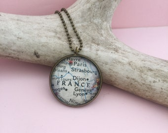 France Map Pendant, French Honeymoon Travel Trip Gift, Unique Pendant Souvenir Jewelry, Vintage Map Necklace of the Country of France
