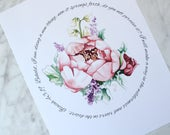 Private listing for Jeanne -- Peony Print