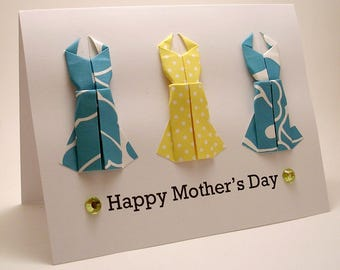 CLEARANCE Origami Dress Mother's Day Card (yellow blue)