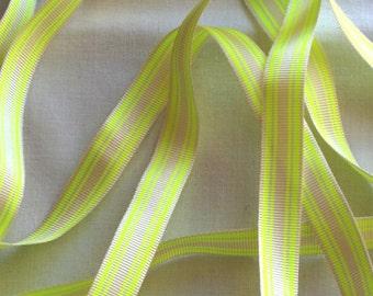 Neon Stripe, beige and Neon yellow Ribbon. 10mm x 2 metres