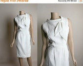 ON SALE Vintage 1960s Dress - Little White Wiggle Dress - Ascot Bow Neckline - Form Fitting Textured Dress - Small