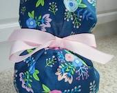 Turn Up Ponytail Scrub Hat in Navy Floral Bouquet