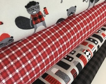 FLANNEL fabric, Burly Beavers Fabric Bundle of 4, Hipster fabric, Lumberjack, Red Black Plaid, Robert Kaufman- Choose the cuts