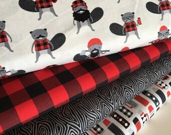 Plaid fabric, Burly Beavers Fabric Bundle of 4, Hipster fabric, Lumberjack, Red Black Plaid, Robert Kaufman- Choose the cuts