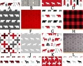 Custom for ginamichellegrimstea Rustic Buffalo Plaid Deer Woodland Red Black and Grey Baby Nursery Crib Bedding Set Custom Printed fabric