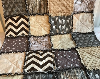 Designer Brown Taupe & Tan Deer/Stag Arrows Woodgrain Boutique Rustic Baby Travel Rag Quilt Bedding READY TO SHIP