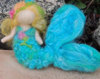 Mermaid and Her Treasure  - Waldorf  Inspired Needle Felted Doll