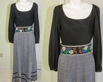 SALE Vintage 1970's B. Cohen Designer Peasant Style Maxi Dress