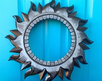 FREE SHIPPING-Vintage Homco Black Sun Wall Decor-Sunburst Frame-Large Sun Frame-Celestial-Bohemian-Hippie-Gypsy-Garden Decor-Wall Statement