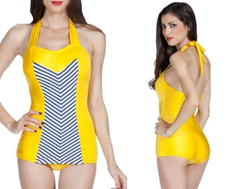 Clementine Swimsuit in Yellow with Navy and White Chevron XS only!!
