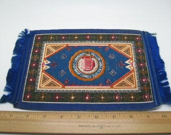 Large Antique Cigarette Silk Fringed Rug Royal Blue U of Penn