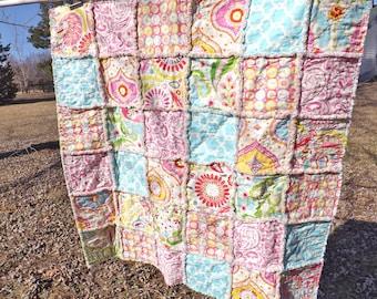 Modern Baby Quilt - Baby Rag Quilt - Kumari Fabrics - Handmade - Toddler Quilt - Crib Quilt