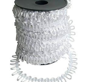 White Satin Non-Elastic Adjacent Button Looping Trim - Ready to use Wedding Button Holes