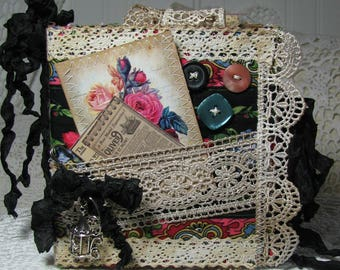 Handmade Junk Journal Memory Keepsake Book Diary Notebook Quilting Lace Buttons