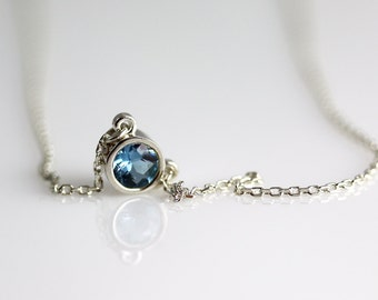 Aquamarine Pendant Necklace - Bezel Set Stone - Aquamarine Necklace - Sterling Silver