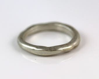 20% OFF Sterling Silver Ring - Narrow Organic Band - Silver Ring - Size 7
