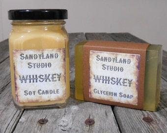 Whiskey Gift Set~ Soy Candle~ Mens Spa Gift Set~ Glycerin Soap~ Mens Bath Salts