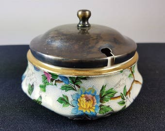 Vintage Barker Brothers Royal Tudor Wear Ceramic Pottery Sugar Bowl with Silver Plated Top Lid 1930's