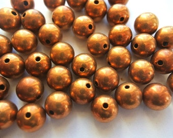 6 Vintage metal cooper beads 10mm, simple unique color beads
