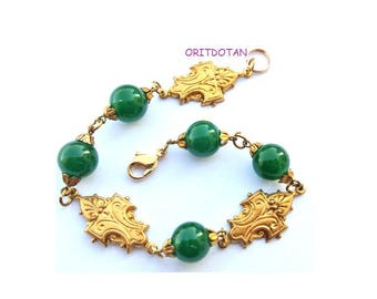 Bracelet made of antique vintage beads and elelments, 8inch